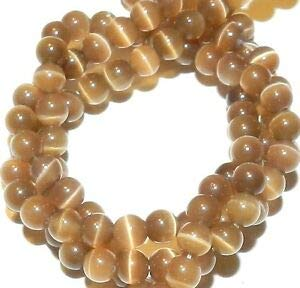 Steven_store G1623 Light Cocoa Brown 4mm Round Cat's Eye Fiber Optic Glass Beads 14