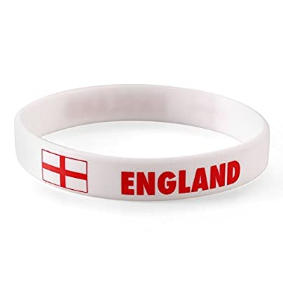 Komonee England White World Cup Olympics Silicone Wristbands Pack 10 Estimated Price £6.99 -
