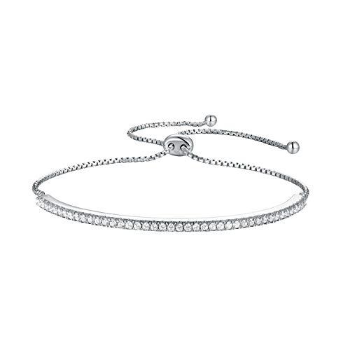 (Wuziwen Adjustable Chain Bracelet for Women Sterling Silver Cubic Zirconia CZ Bolo Sparkling Strand)