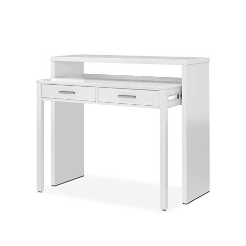 Habitdesign Mesa Escritorio Extensible, Mesa Estudio, Consola, Acabado en Color Blanco Artik, Medidas: 98,5 cm (Ancho) x…