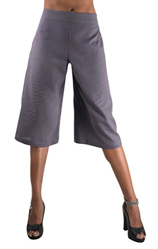 (Tropic Bliss Women's Organic Cotton Capri Pants, Gray Gauchos, Medium)