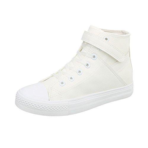 Ital-Design Sneakers High Damenschuhe Schnürsenkel Freizeitschuhe Weiß BL80