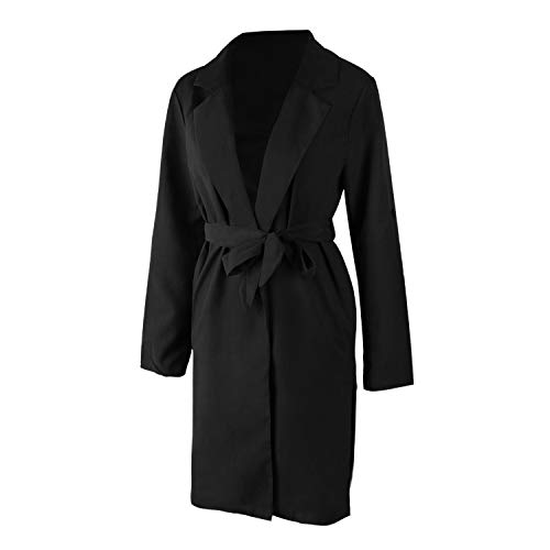 Solide Cardigan De S Air A Cote Poche Ceinture Dames Vetements Long Plein Elegant En Veste Decontractee Toogoo Cascade Noir Coupe Fendu Femmes Parka Manteau Avec vent Oz4Zwn5q