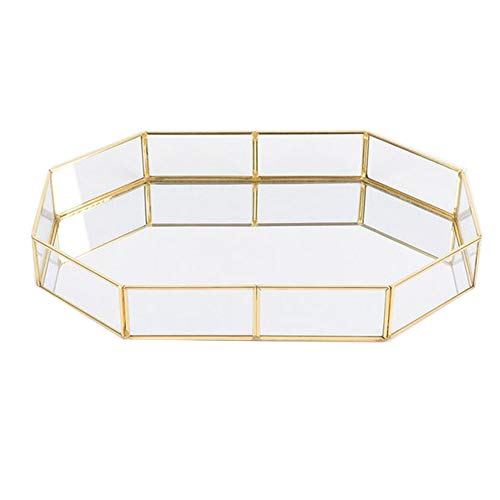 Pahdecor Vintage Makeup Jewelry Organizer Mirrored Glass Tray Handmade Home Decorative Metal Vanity Tray,Gold Leaf Finish(Large)