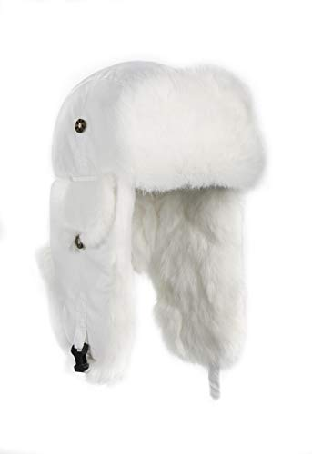 Rabbit Fur Trooper Hat - Mad Bomber Original White Pilot Aviator Hat Real Rabbit Fur Trapper Hunting Cap, X-Large
