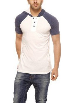 Gritstones WHITE HENLEY T-shirt Half Sleevess Hooded