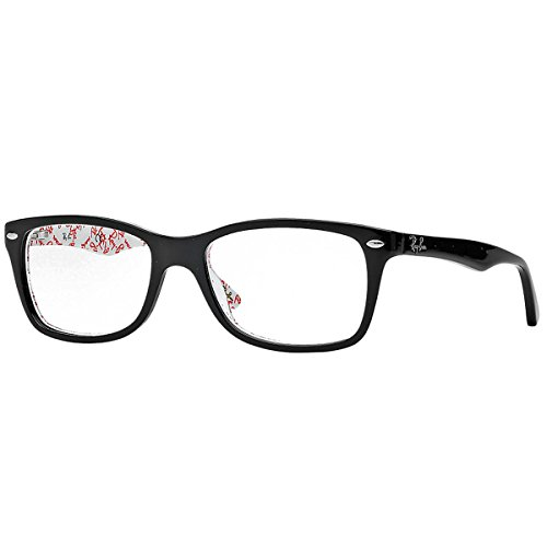 Ray-Ban Unisex-Adult 0rx5228 0RX5228 No Polarization Square Eyeglasses, Top Black on Texture White, 53 ()