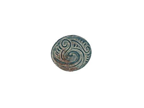 Raku Ceramic Large Maori Koru Bead for Jewelry Design or Necklaces