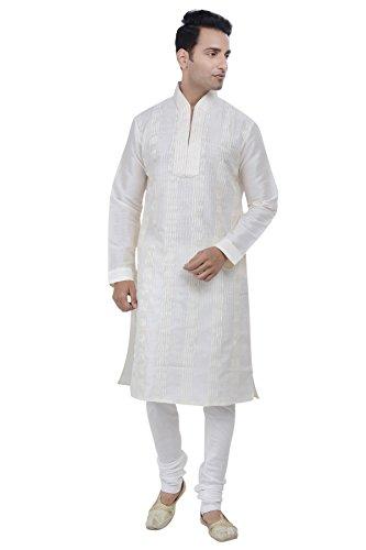 Rajwada Men's Ethnic Indian Design Kurta 2pc Suit. (XX-Large (44), Off-White) (Best Indian Suits Design)