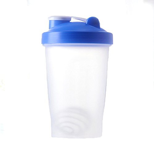 BG-Style Pp Water Bottle Travel To-Go Drinkware Mix Shake Bottle Classic Shaker Bottle Protein Powder Shake Cup Blue 400ml