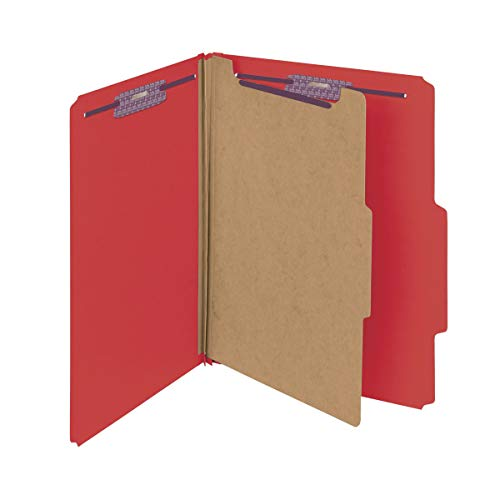 Smead Pressboard Classification File Folder with SafeSHIELD Fasteners, 1 Divider, 2