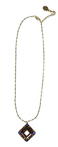Anne Koplik Designs Antique Finish Crystal Square Pendant Necklace NK4508ACOP