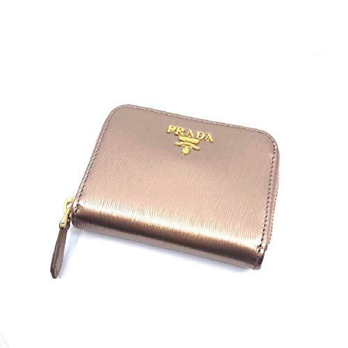 (Prada Portamonete Vitello Move Rose Gold Metallic Leather Zip Around Wallet 1MM268)