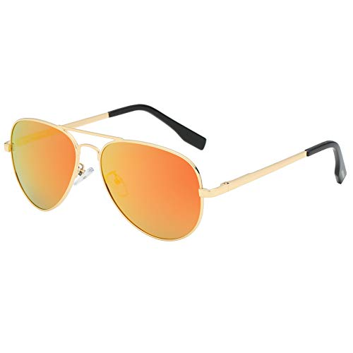 (BEEAN Polarized Mirrored Sunglasses Classic Stylish Aviator Sun Glasses for Women Men, Gold,)