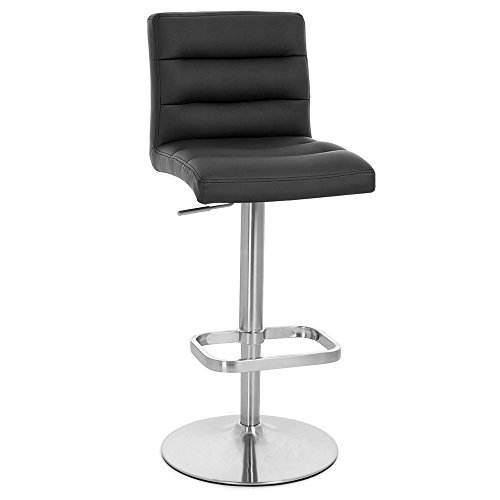 Zuri Furniture Black Lush Adjustable Height Swivel Armless Bar Stool