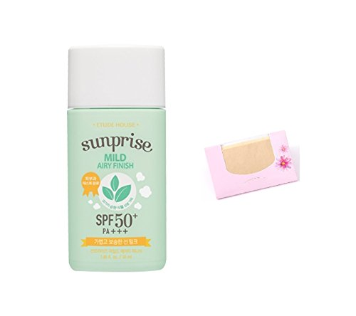 Etude House Sunprise Mild Airy Finish Sun Milk SPF50+ / PA+++, SoltreeBundle Natural Hemp Paper 50pcs