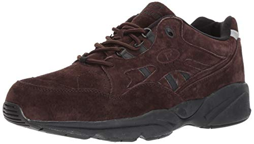 Suede Lace Up Walking Shoes - Propet Men's Stability Walker Walking Shoe, Brown Suede, 10 3E US