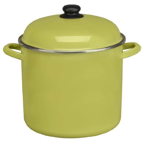Cinsa 312038 Trend Ware Enamel on Steel Stock Pot with Lid, 12-Quart, Green Tea