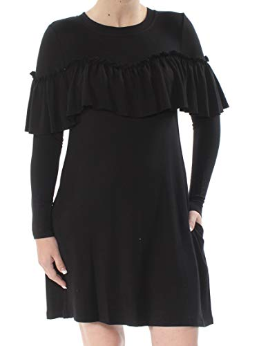 kensie Women's Drapey French Terry Dress with Pop Over Ruffle Layer, Black, XS