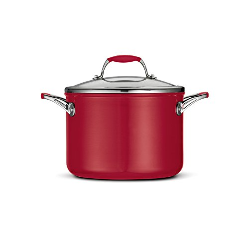Tramontina 80110/065DS Gourmet Ceramica Deluxe Covered Stock Pot, PFOA- PTFE- Lead and Cadmium-Free Ceramic Exterior & Interior, 6-Quart, Metallic Red, Made in Italy