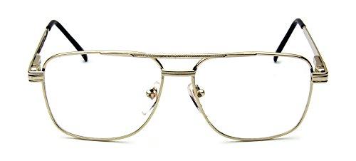 Retro Aviator Clear Lens Eyeglasses Super Vintage Classic Nickel Metal Frame (Gold Square, UV400)