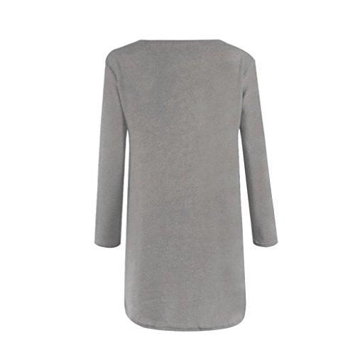 Casual Oversize avec Capuche Femme clair Robe Manches Gris Tops Longues Sweat Robe OverDose Sweat Fermeture 8zSB11
