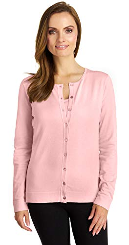 August Silk Women's Long Sleeve Crew Neck Silk Twin Cardigan, Swan Pink, Large