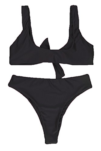 QINSEN Ladies Push up Padded Bandage High Waist Thong 2PCS Bikini Bathing Suit Black L by QINSEN (Image #5)