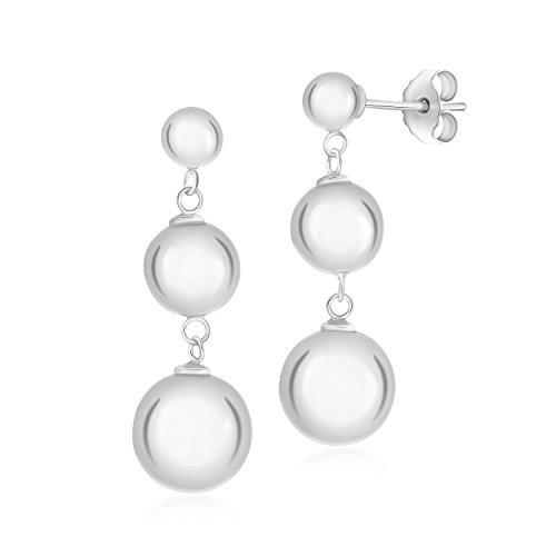 (UNICORNJ Sterling Silver 925 Polished Triple Ball Drop Earrings Italy)