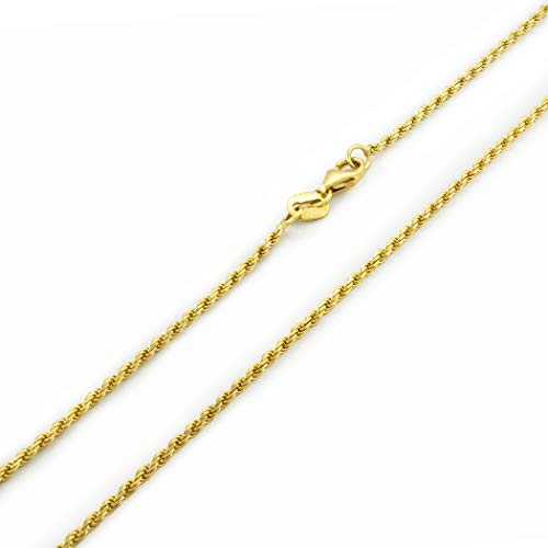 14k Yellow Gold Solid 1.8mm Diamond Cut Rope Chain Pendant Necklace, 16