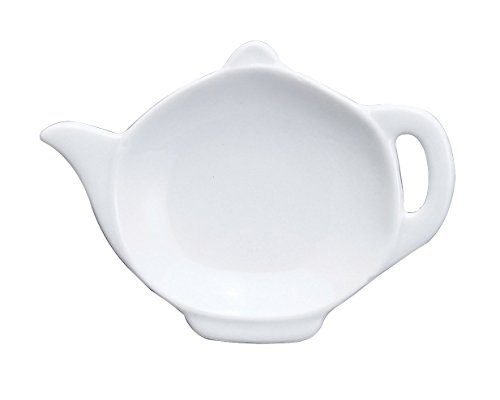 (HIC Harold Import Co. 75/19 HIC Teapot-Shaped Tea Bag Holder and Resting Caddy, 4.5-Inches, Fine White Porcelain)