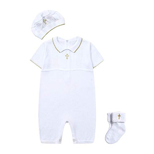 HAPIU Baby Boy Baptism Outfit with Hat Christening Outfit-Cross Detail, 3-6M, Snow White ()