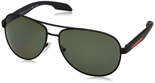 Prada Linea Rossa  Men's 0PS 53PS Black Rubber/Polarized Green - Polarized Prada Rossa Linea