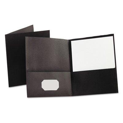 Twin-Pocket Folder, Embossed Leather Grain Paper, Black, Sold as 1 Box