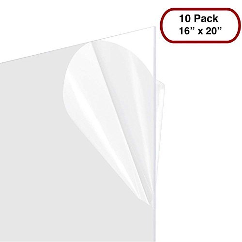 10 Sheets of 16x20 .060 PETG | Clear Styrene/Plexiglass | Safety Glass