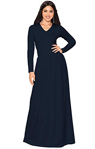 KOH KOH Petite Womens Long Sleeve Floor Full Length V-Neck Ruched Empire Waist Formal Fall Winter Wedding Abaya Modest Muslim Evening Gown Gowns Maxi Dress Dresses, Dark Navy Blue S 4-6