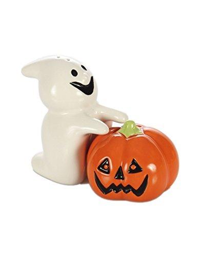 Halloween Decorative Ghost and Pumpkin Salt and Pepper Shaker Set]()