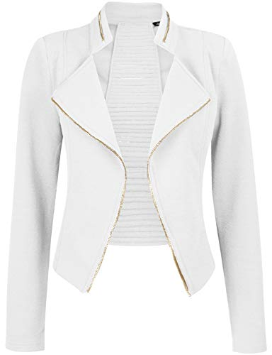 Michel Womens Casual Zip Up Blazer Slim Fit Crop Jacket Medium