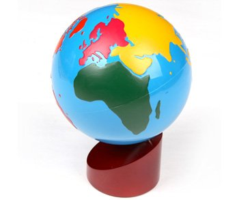 Montessori Colored Globe of the World Parts