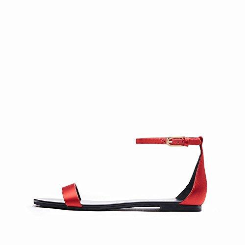 NSX Bouton Chaussures D'Été C Simples Plat Mot Sandales Chaussures Talon Mot Rond HawrHxq