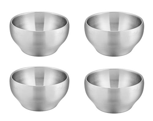 Bowls for Kids Toddlers, E-far 12 Ounce Double-Deck SUS304 Stainless Steel Bowls for Baby Children, Healthy & Matte Finish, Insulated & Shatterproof - Set of 4