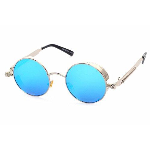 circular Azul Steam Punk sol gafas Mercurio Gafas y Highdas Plata hombres para reflectante cl¨¢sico de mujeres HfxSwY