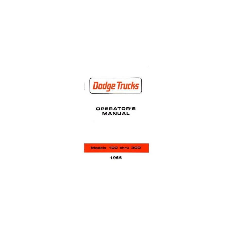 1965 DODGE LIGHT DUTY TRUCK 100 300 Owners Manual Guide
