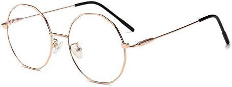 LIUYALE Personality unregelmäßiges Vieleck Optical Galsses Schutz der Augen Leicht stark und robust Metallbrille-Rahmen mit freiem Objektiv Brillenfassungen (Color : Rose Gold)