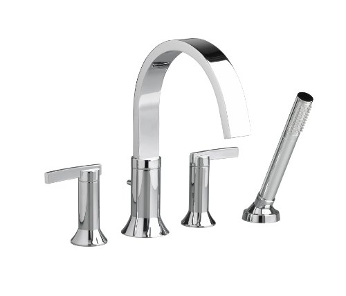 American Standard 7430.901.002 Berwick 2 Lever Handle Deck Mount Tub Filler With Personal Shower, Polished Chrome