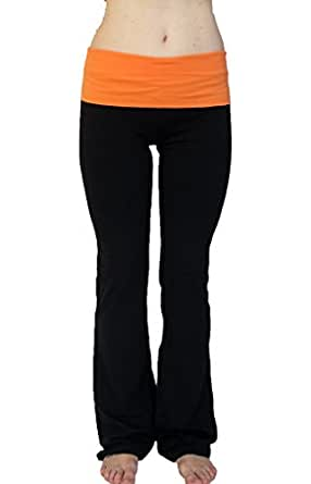 Popular Basics Women's Cotton Yoga Pants With Fold Down Waist-black/neon orange