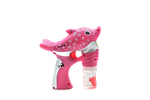 Bubble Gun Bubble Blowing Toy for Kids Toddlers, Light Up Bubbleizer with LED Lights and Music, Transparent Bubble Machine Gun with 2 Bottles Refill Solution Non Toxic, Pink Dolphin Bubble Machine