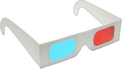 10 Pairs of Red/Cyan Cardboard 3D Glasses - Folded in Protective Sleeve