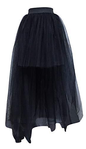 Bellady Womens Mesh Tulle High Low High Waist Tutu Princess Wedding Skirt,Style2_Black