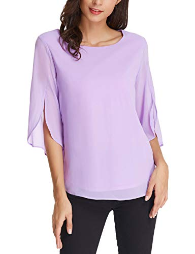 Women's Basic Chiffon T-Shirt Blouse 3/4 Sleeve Size XL Purple
